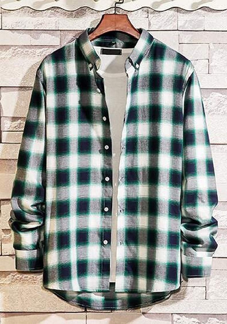 Sweatwater Men Casual Button Down Loose Long-Sleeve Plaid Shirts