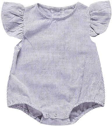 Julhold Verano 0-24 Meses Bebé Niño Bebé Niño sin Mangas de algodón a Rayas Pelele Chándal Vestidos: Amazon.es: Ropa y accesorios