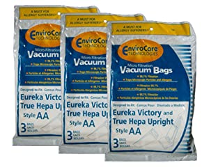 9 Eureka Allergy Micro Lined Hepa Upright Victory Style AA Bags, Series, Sanitaire, Powerline, Self-Propelled, Canada Vacuum Cleaners, 58623, 58236A-12, 58236A-12 (Filteraire), 54926A-10