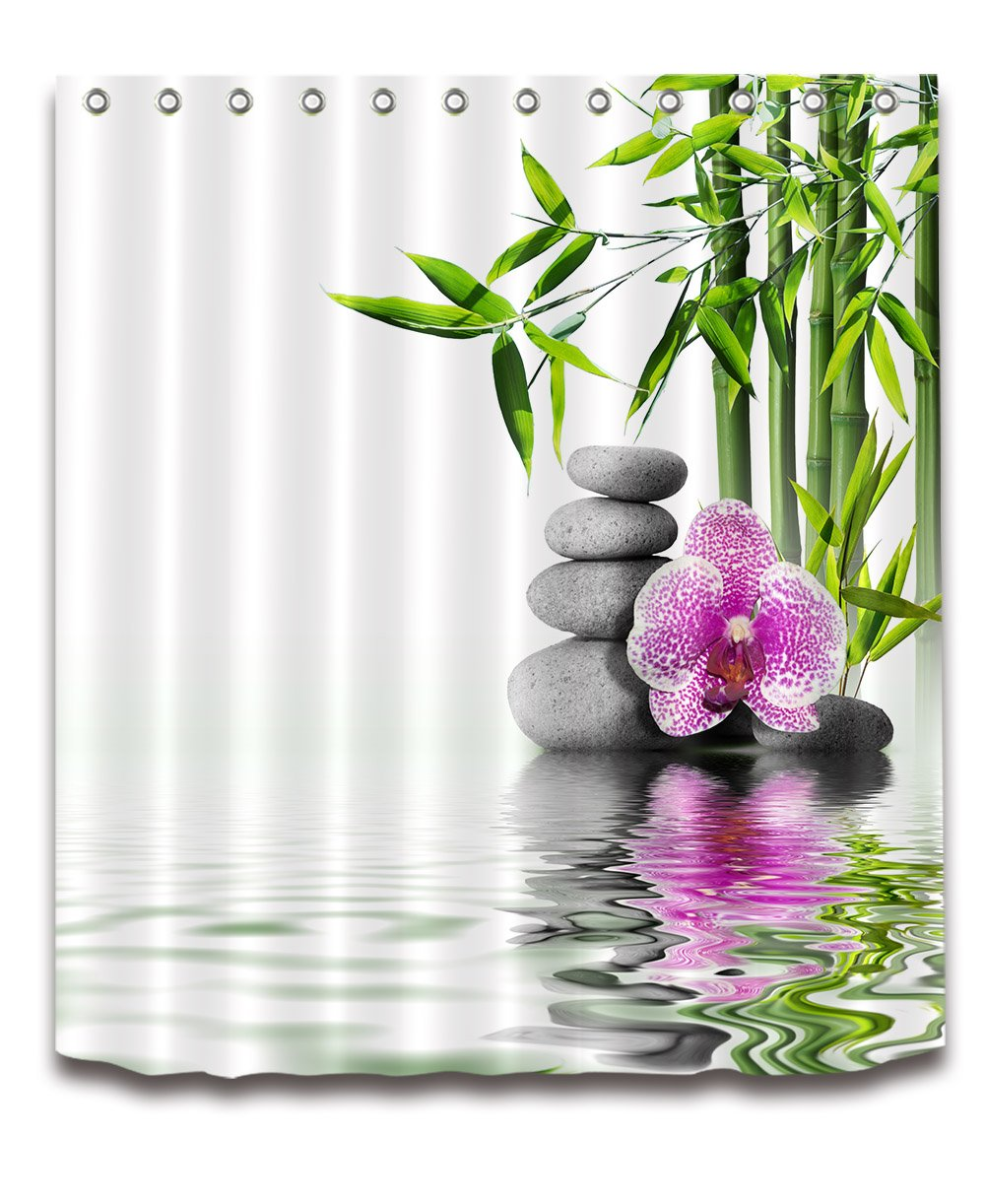 LB India Spa Zen Buddha Water Yoga Hot Spring Meditation Decoration Shower Curtain Polyester Fabric 3D 72x72 inch Mildew Resistant Waterproof Massage Stone Orchid Bathroom Bath Curtains by LB (Image #1)
