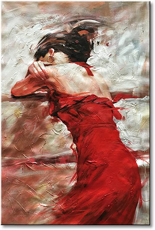 Amazon.com: Seekland Art Hand Painted Sexy Lady with Red Dress ...