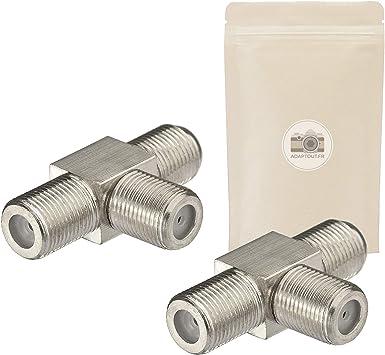 Lote de 2 adaptadores en T conector 1 entrada coaxial de tornillo tipo F hembra a 2 salidas coaxial tipo F hembra cable satélite TV antena adaptador – ...