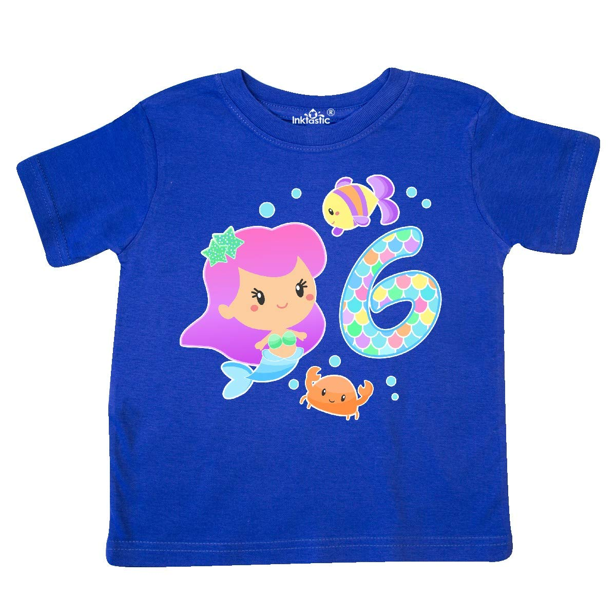 inktastic Sixth Birthday Mermaid with Fish and Crab Toddler T-Shirt