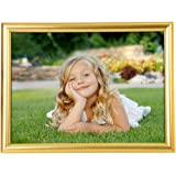BOJIN 8x10 Inch Picture Frames Plastic Table Top Photo Frame 20x25 CM - Gold