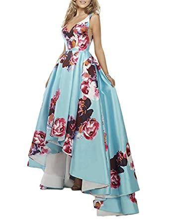 Stillluxury Floral Print Long Prom Dresses Hi Low Ball Gown Womens Formal Evening Blue Background Size