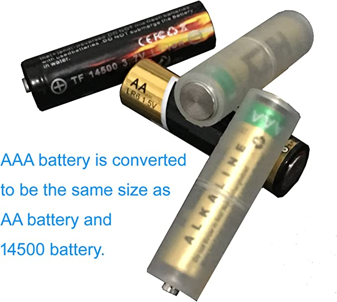 Fielect 2 pcs AAA to AA Size Parallel Connection Battery Adapters Converter Cases AA-Adapter Transparent