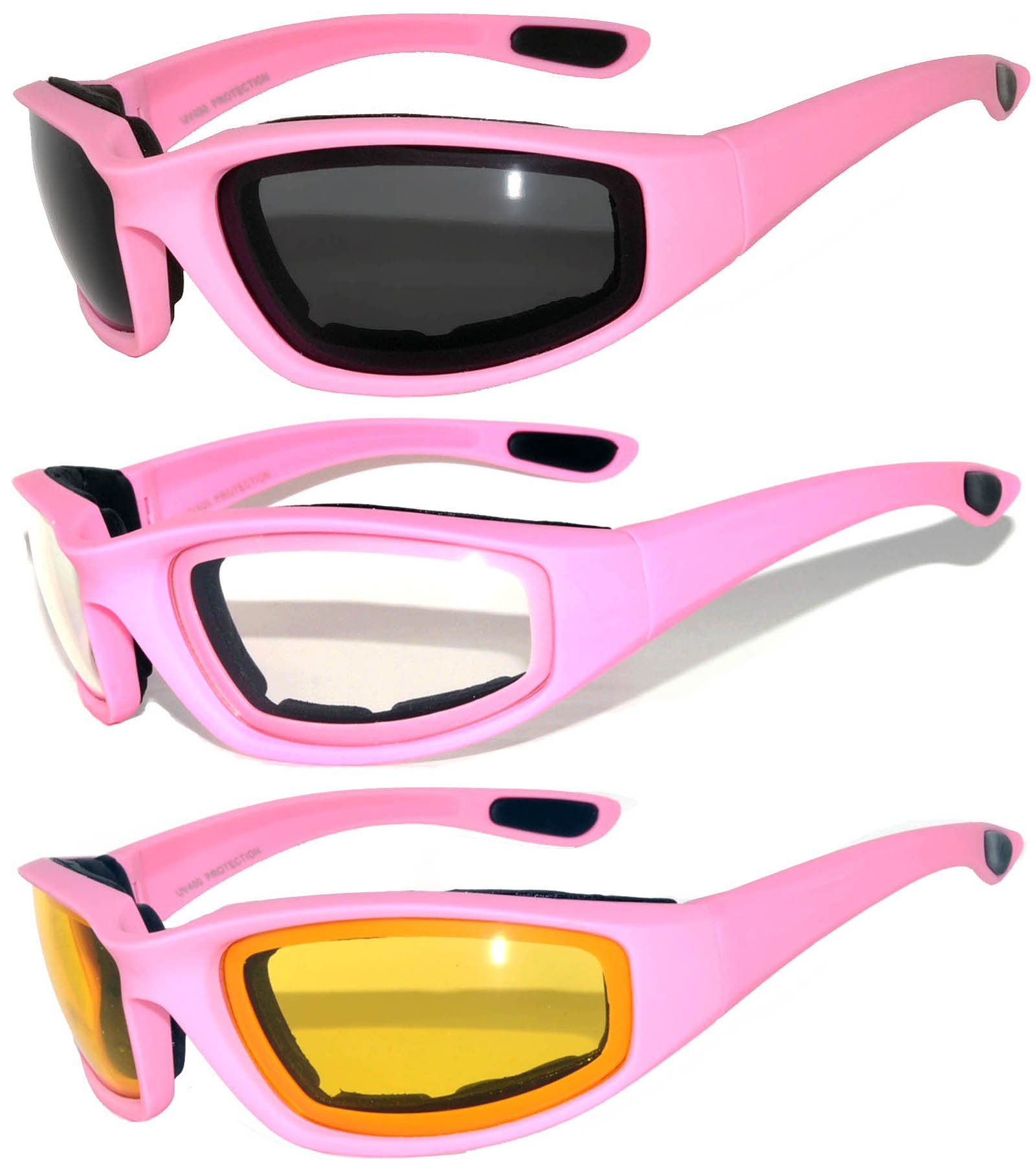 Set of 3 Pairs Pink Motorcycle Padded Foam Glasses Yellow Clear Smoke Lens Owl
