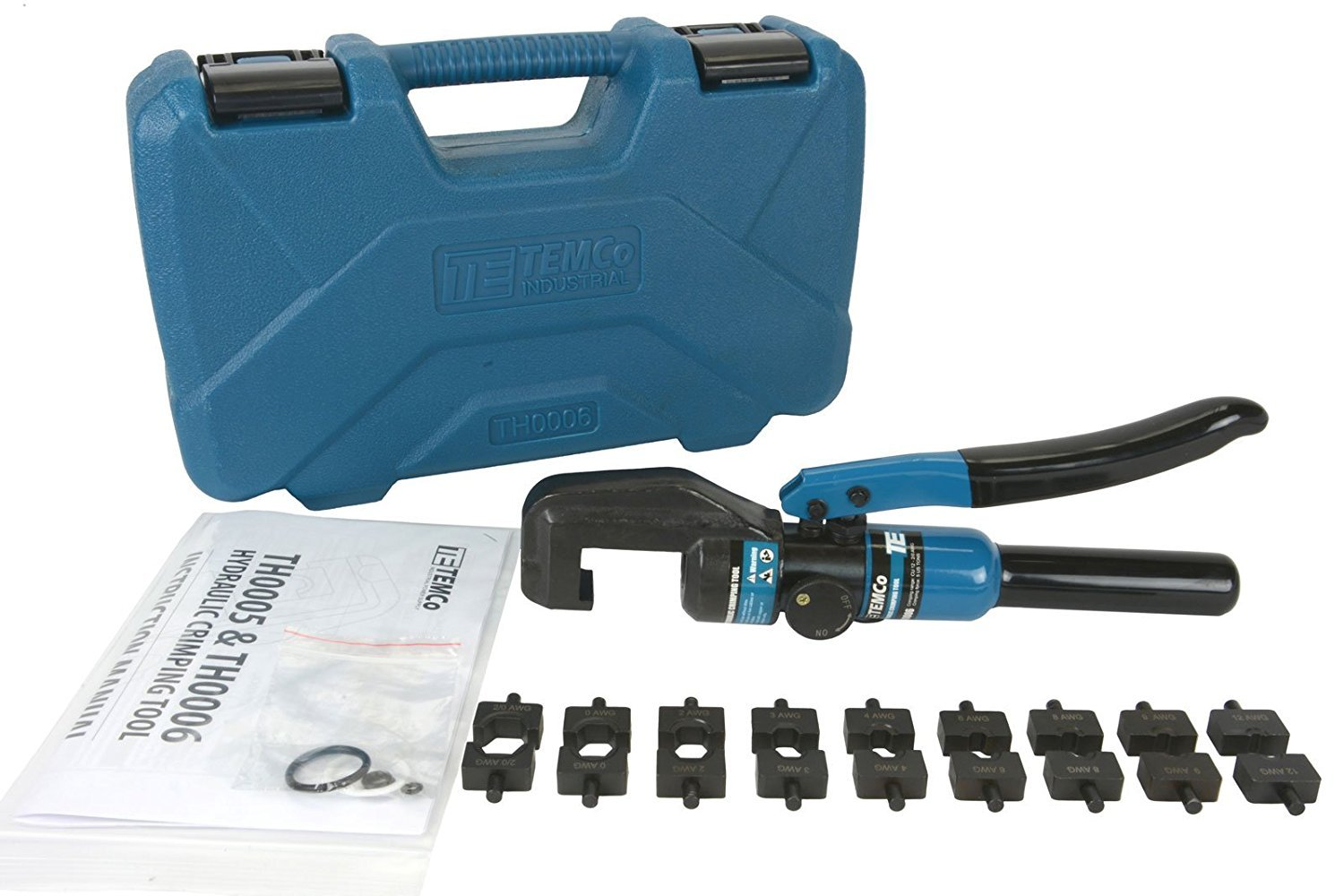 Temco Hydraulic Cable Lug Crimper TH0006-5 US TON 12 AWG to 00 (2/0 ...