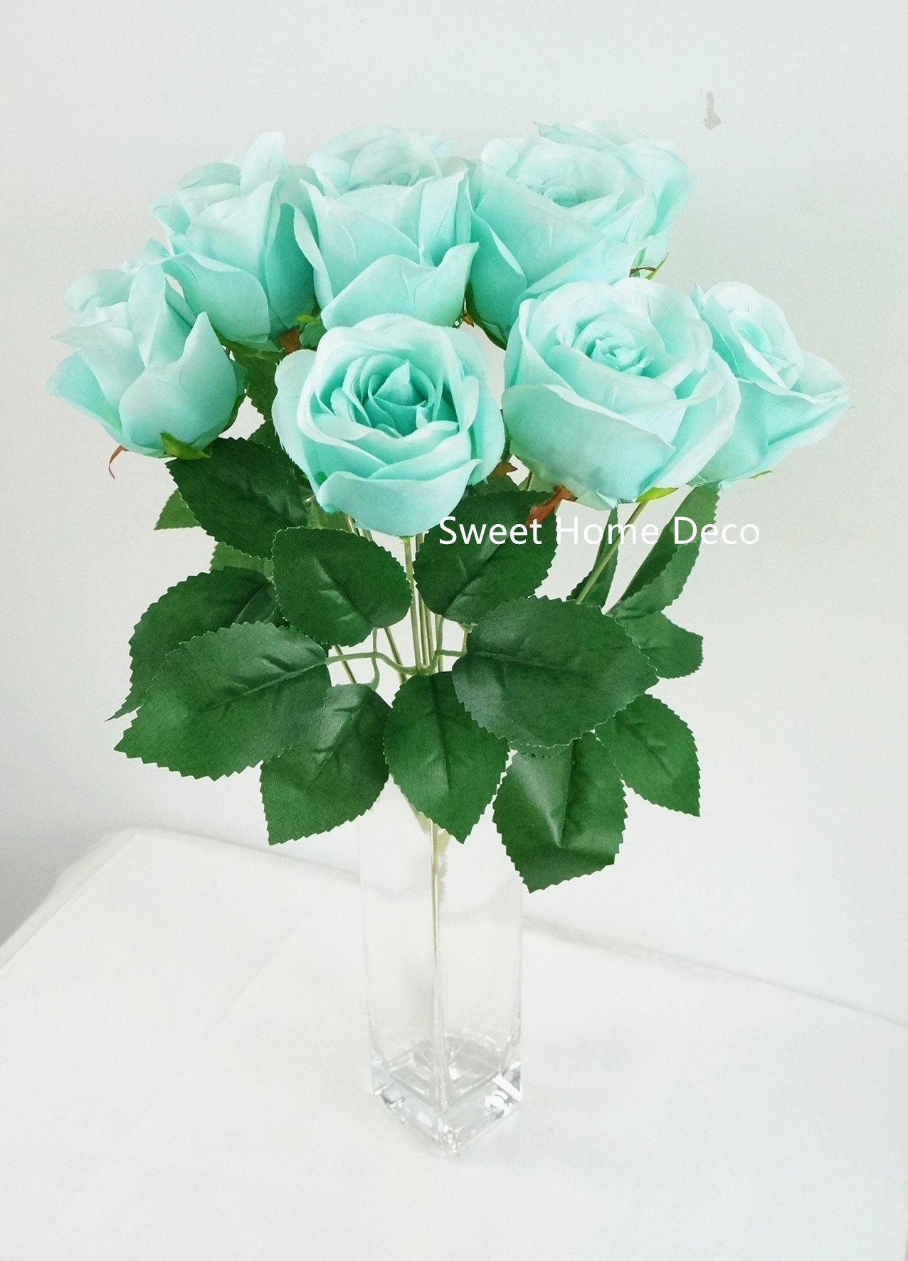 Sweet Home Deco 16'' Silk Rose Artificial Flower Bouquet (12 Stems/12 Flowers) Wedding Home Decorations (Teal)