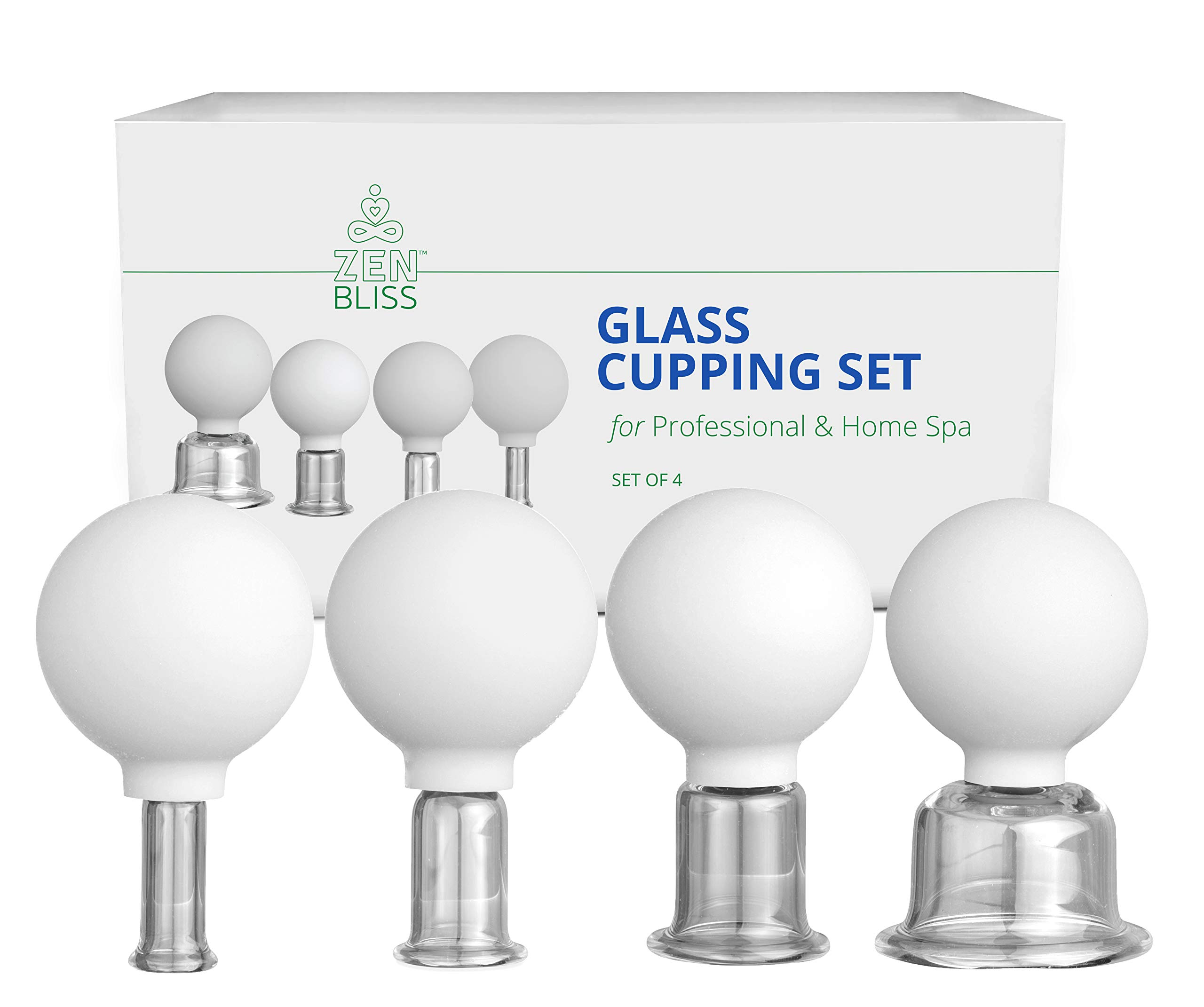 Cupping Therapy Sets Professional Glass - Face Cupping Facial Set and Anti Cellulite Lymphatic Therapy (4) by ZenBlissLife
