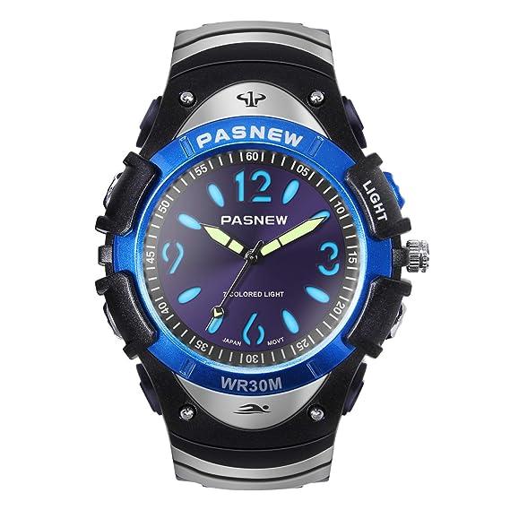 Hiwatch Relojes para Niños Reloj de Pulsera de Cuarzo Impermeable Reloj Analógico Deportivo con Multíples Luces Coloridas para Jóvenes Estudiantes de ...