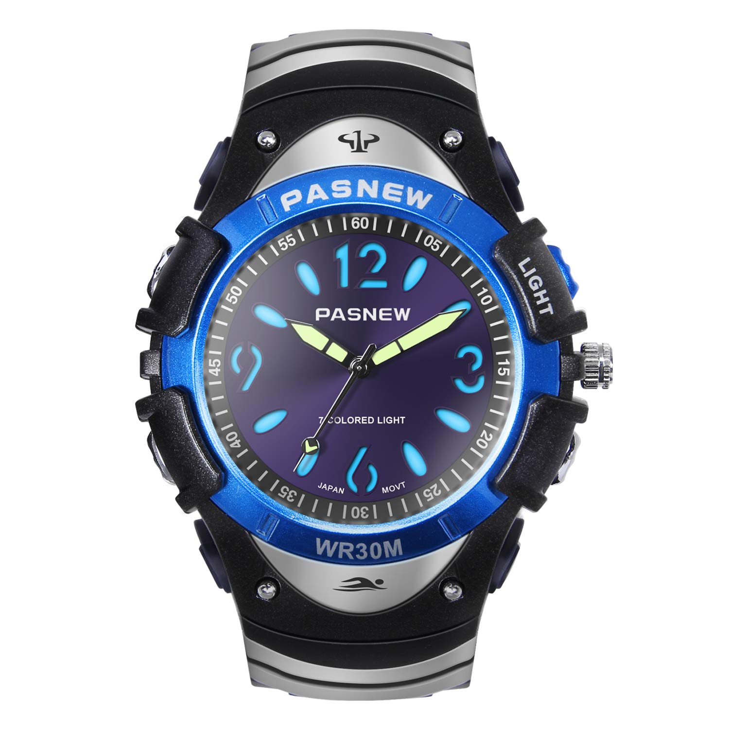 HIwatch Boys Watches Classic Quartz Waterproof Wrist Watch Sport Analog Watch with Multi Coloured Lights for Youth High School Students, Blue