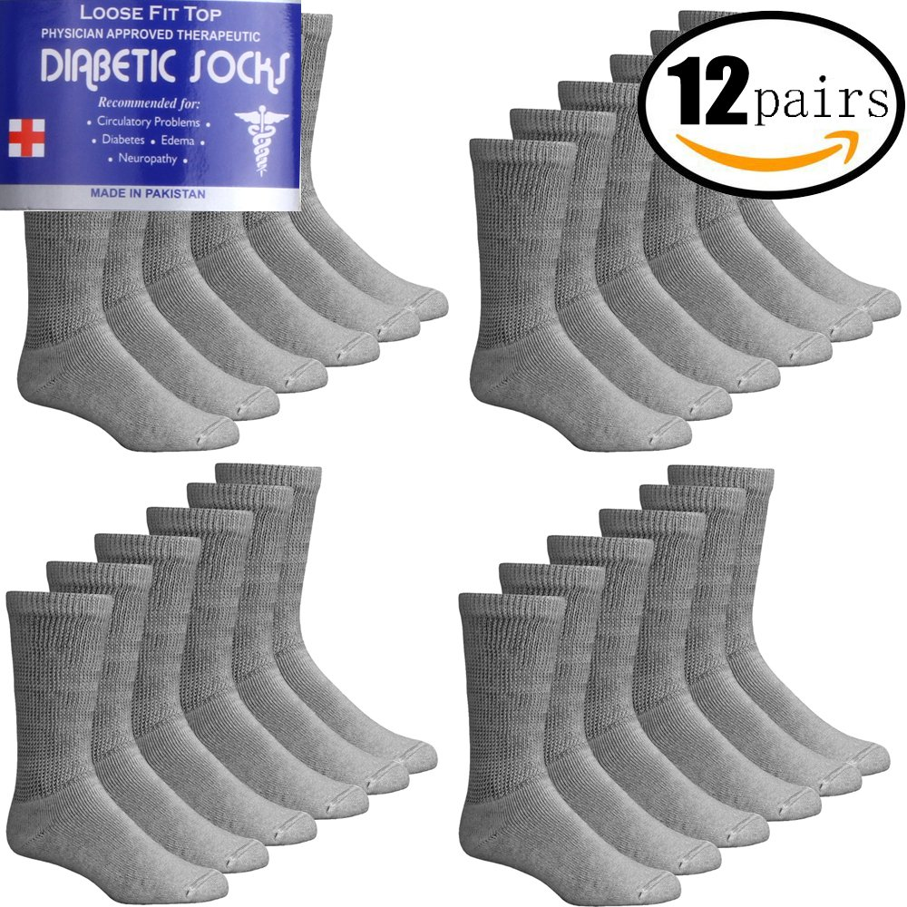 12 PAIRS MEN'S DIABETIC PHYSICIAN APPROVED THERAPEUTIC ANKLE LOOSE COTTON SOCKS