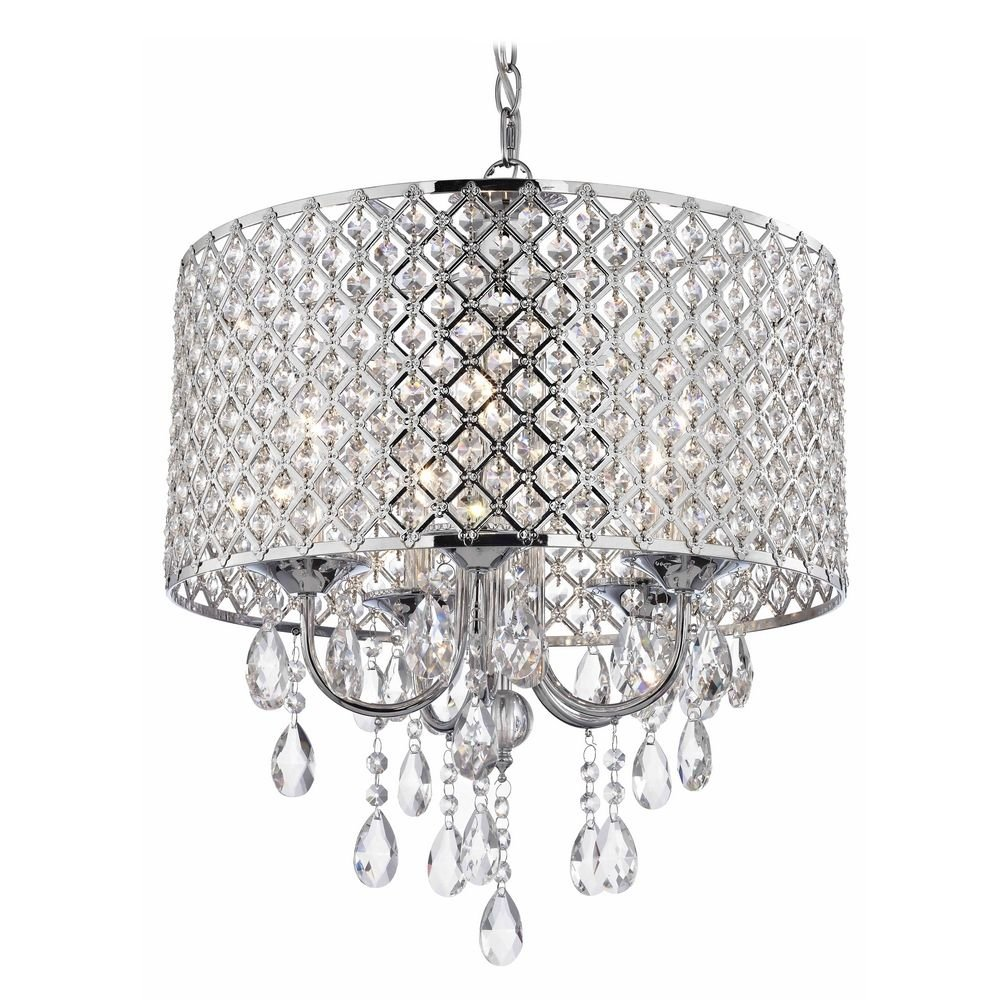 Crystal chrome chandelier pendant light with crystal beaded drum crystal chrome chandelier pendant light with crystal beaded drum shade ceiling pendant fixtures amazon aloadofball