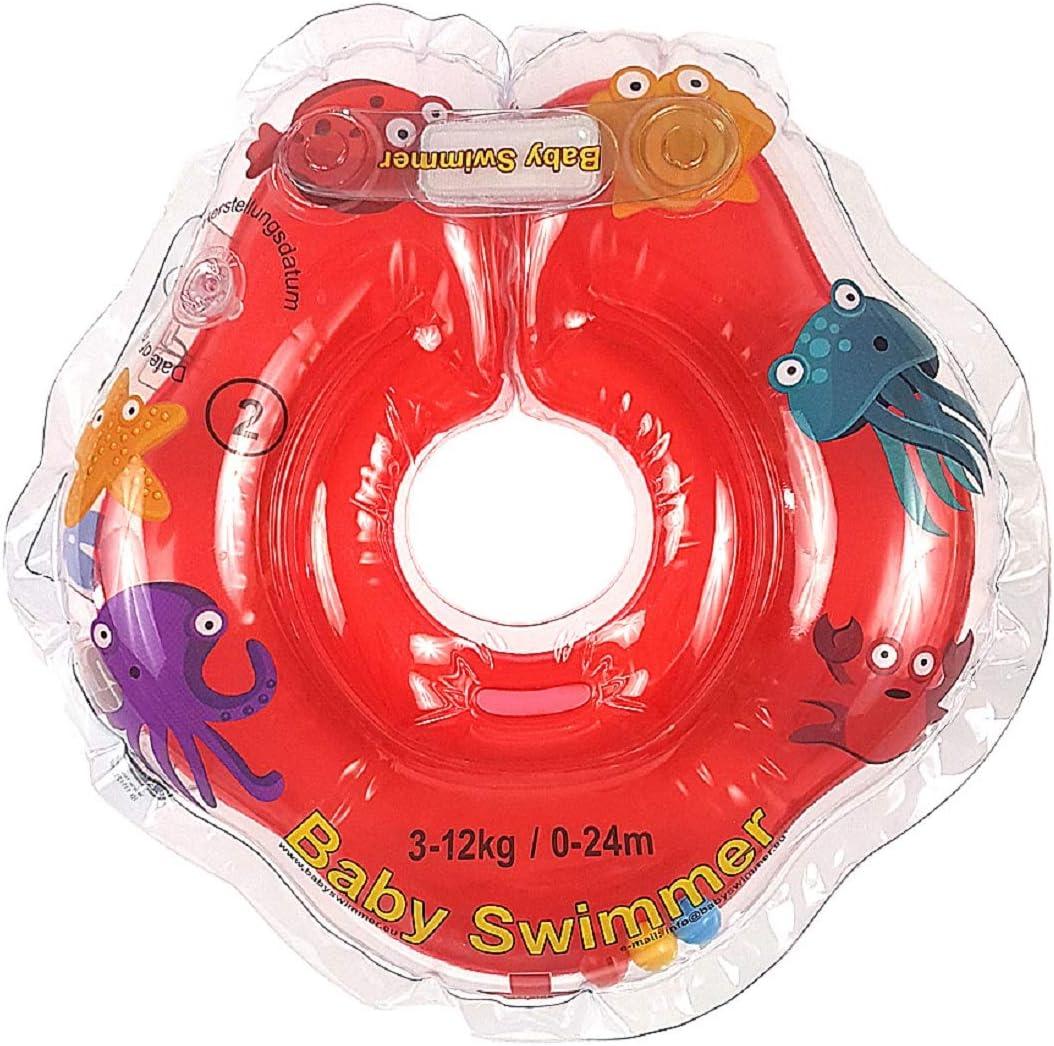 Baby Flotador TÜV GS Cuello Flotador (Tallas 3 – 12 kg (0 – 24 Meses) Flotador para bebé de natación Anillo de baño Ayuda Color Rojo