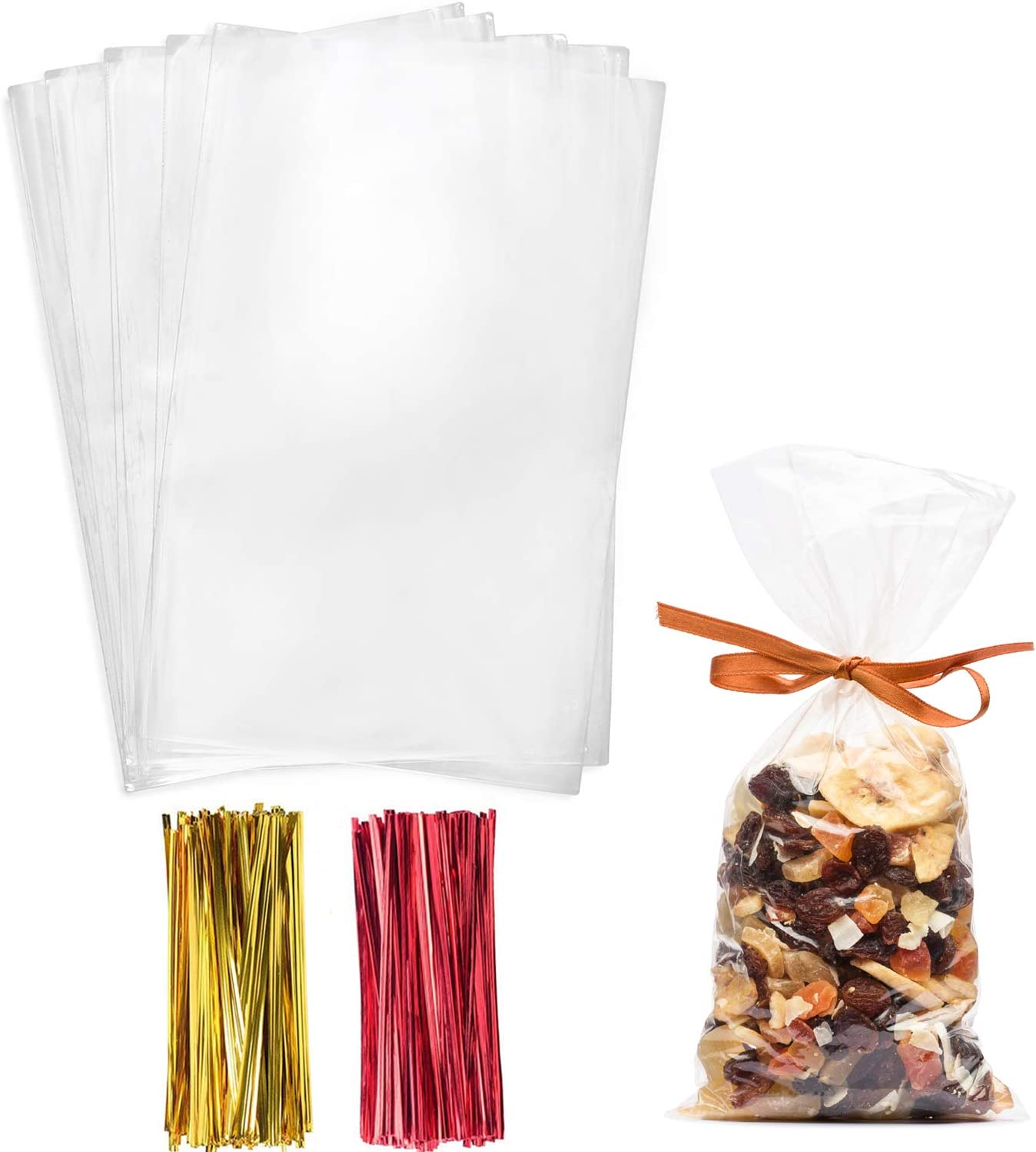 Cellophane Treat Bags,4x9 Inches Clear Cellophane Bags 200 Pcs OPP Plastic Treat Bags with 200 Twist Ties for Gift Wrapping,Packaging Candies,Dessert,Bakery, Cookies, Chocolate,Party Favors