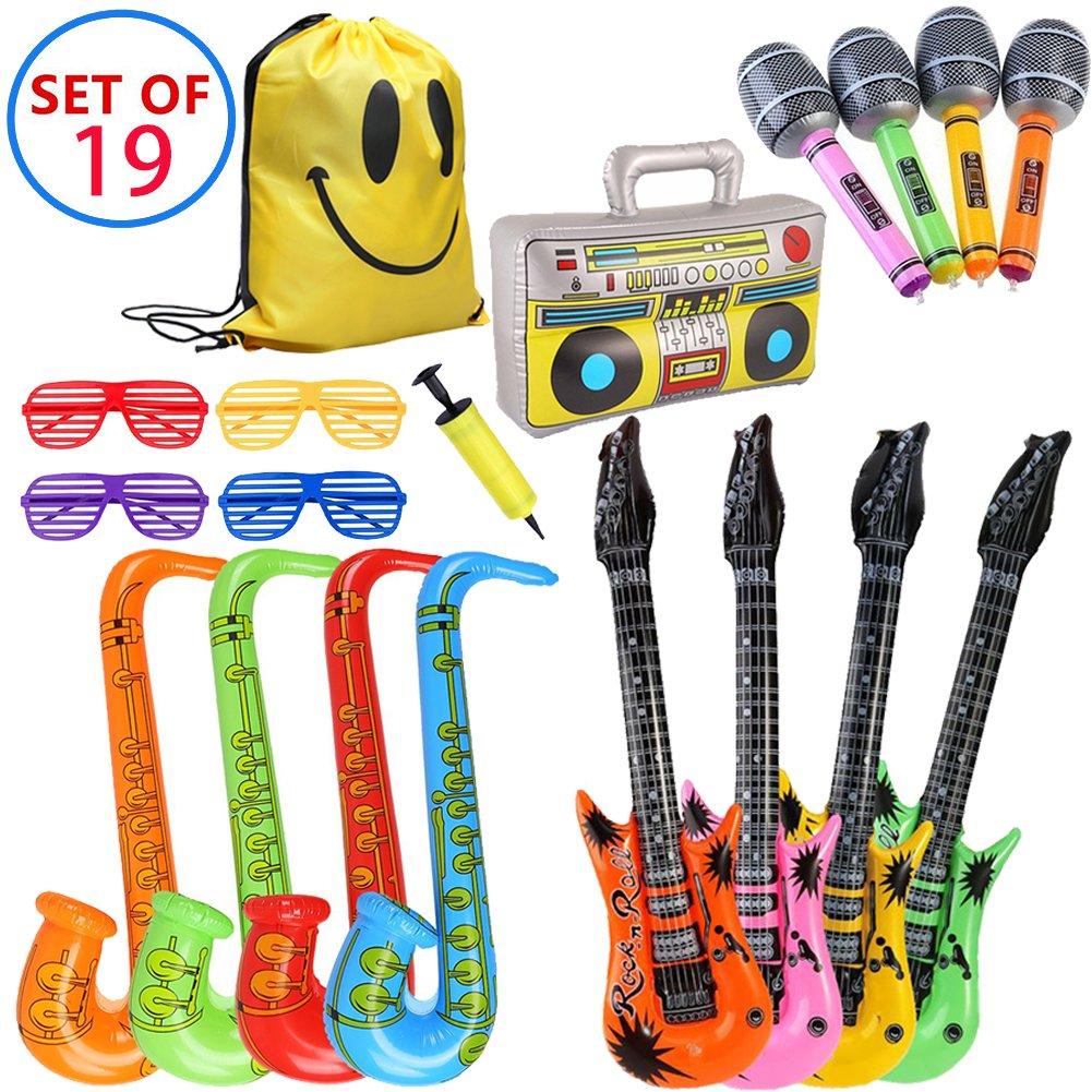 MI KAKA Inflatable Instruments Rock Star Toy Set para decoración de Fiesta Prop Photobooth Props Party Pin Juegos Favors Bolsas (19 Piezas de Color al ...