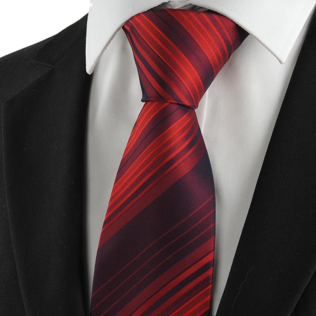 Nuevo diseño de rayas burdeos rojo para hombre traje de corbata ...