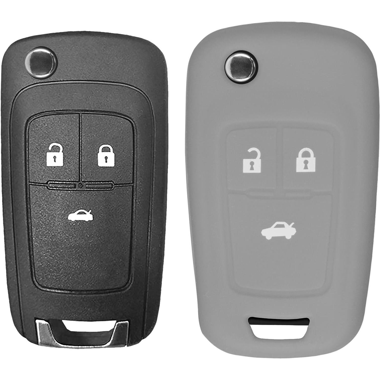 PhoneNatic Coque en Silicone cl/é Auto Noir pour t/él/écommande Chevrolet Cruze 3 Touches Cl/é articul/ée /à 3-Key