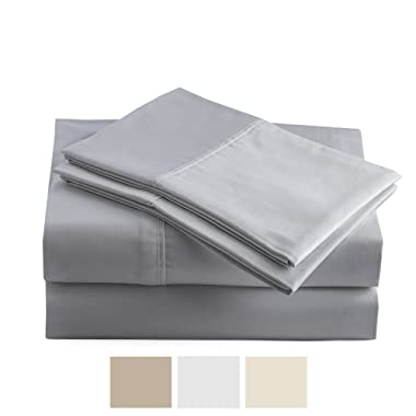 Peru Pima - Hypoallergenic Sheets - 600 Thread Count - 100% Peruvian Pima Cotton - Sateen - Bed Sheet Set - Queen, Slate