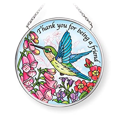 Amia Thank You for Being a Friend, Hummingbird, Small Circle Glass Suncatcher, Multicolored: Home & Kitchen