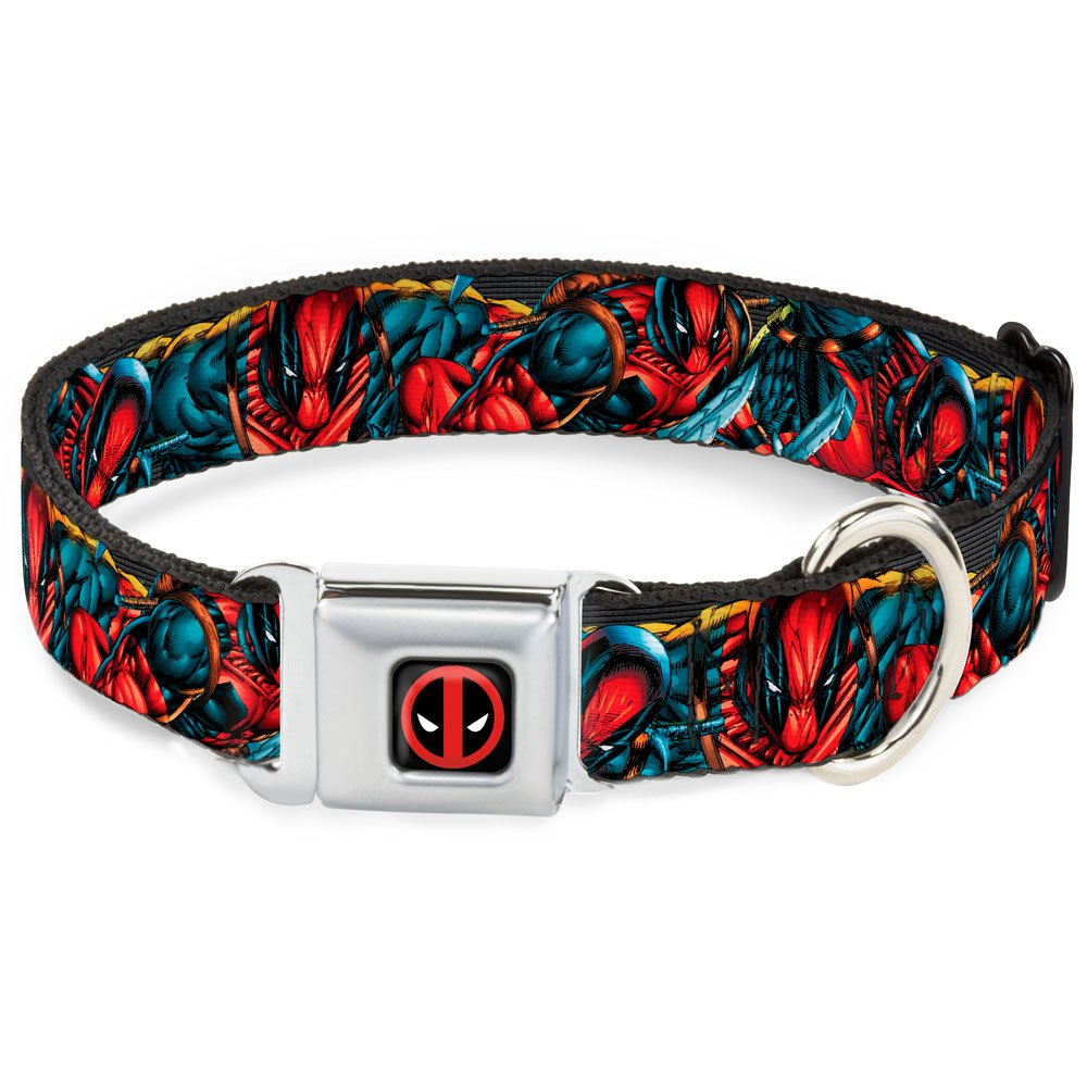 L Fits 15-26\ Buckle-Down Seatbelt Buckle Dog Collar Deadpool Action Poses Stacked 1  Wide Fits 15-26  Neck Large