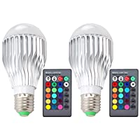 Deals on 2-Pk DLPIN 10W RGBW Color Changing Light Bulbs Dimmable Lamp