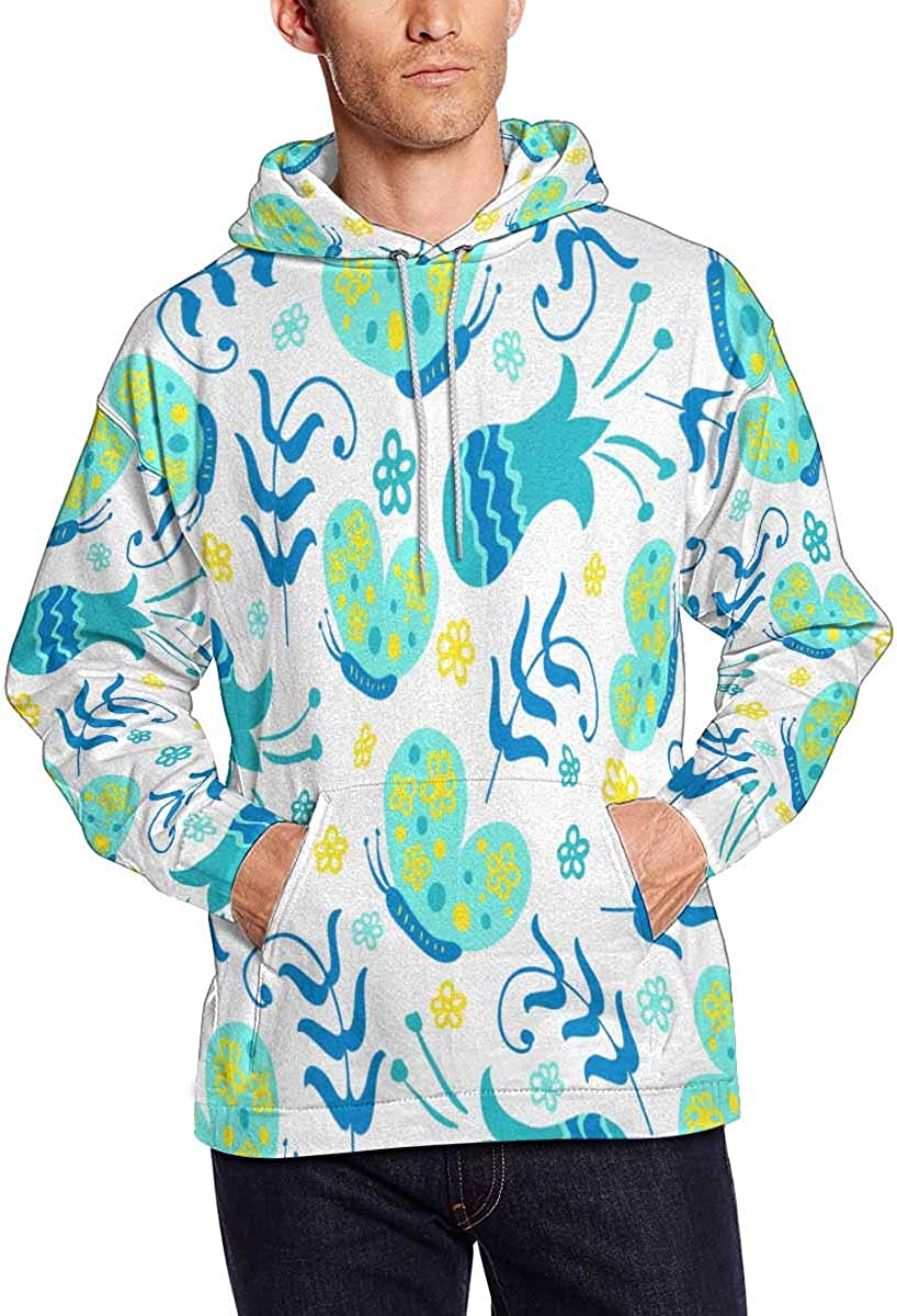 INTERESTPRINT Mens Butterflies and Flowers Hoodies Sweatshirt