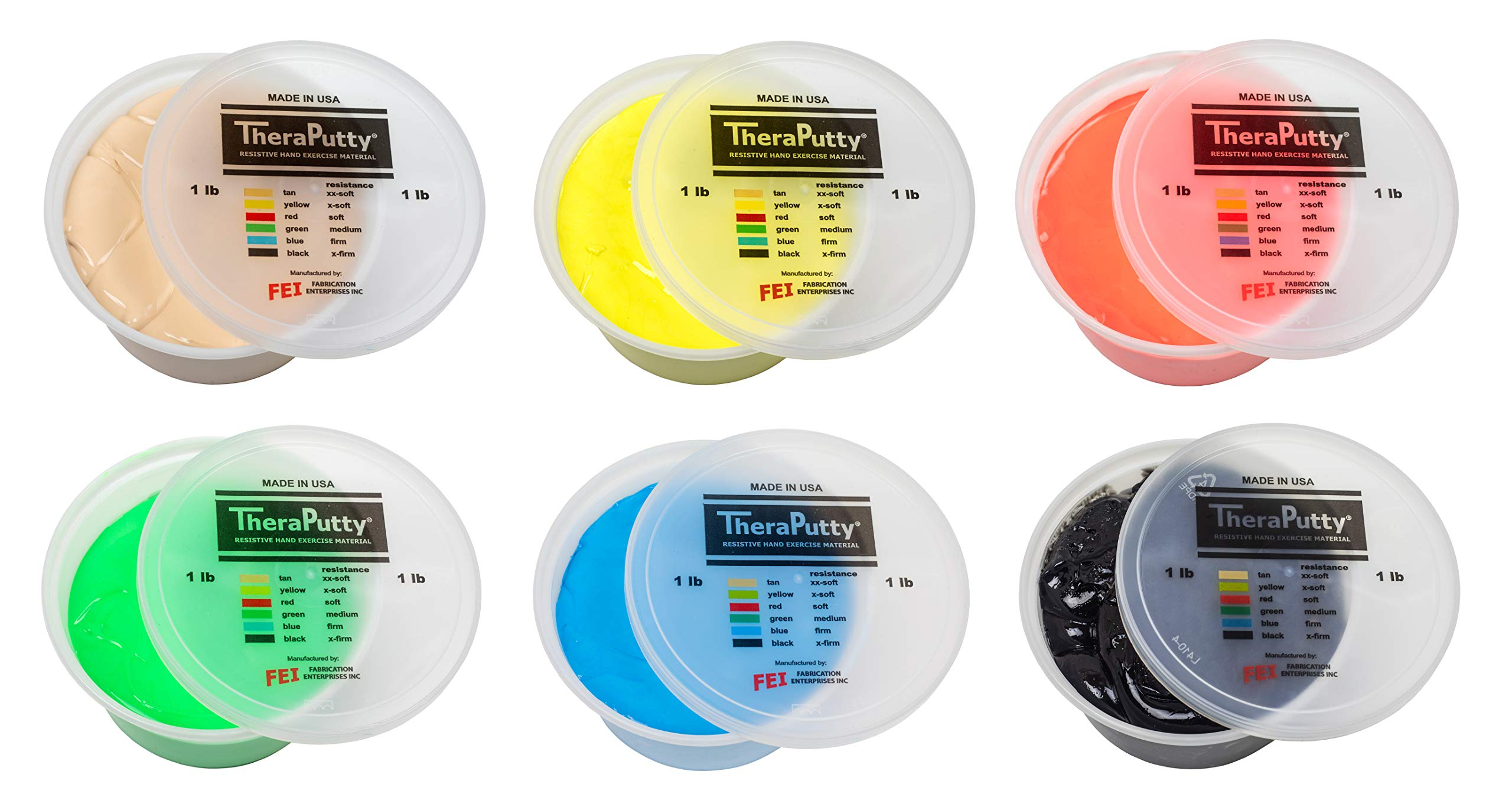 CanDo TheraPutty Standard Exercise Putty, 6 Piece Set (Tan, Yellow, Red, Green, Blue, Black), 1 lb