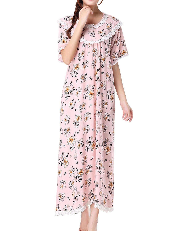LAPAYA Women's Nightgown Short Sleeve Victorian Style Floral Cotton Sleep Dress
