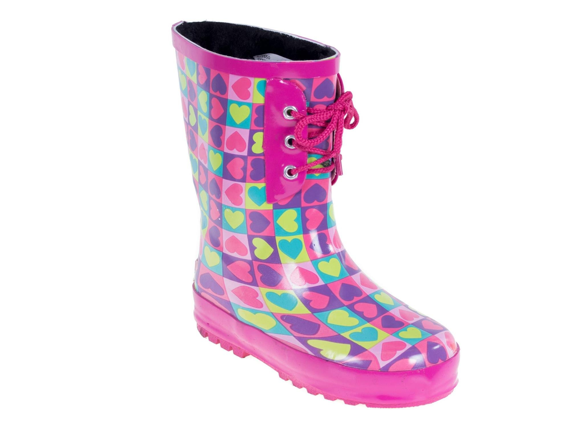 Forever Young Kid's Rubber Lace Up Heart Print Rainboots, 13, Pink
