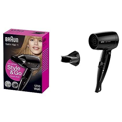 Braun Satin Hair 1 - HD 130 - Lightest Style & Go Travel Dryer (Black) Hair Styling Tools at amazon