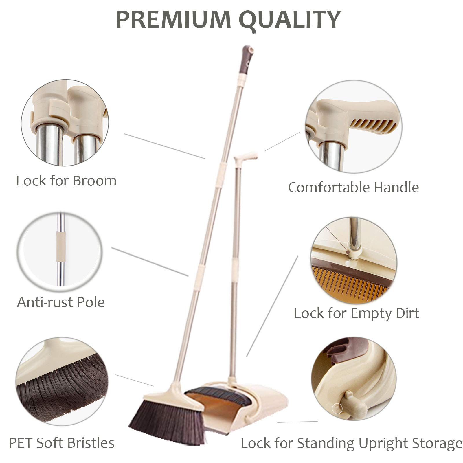 Broom and Dustpan Set, 48 inch Extendable Broom Standing Upright - Wind Proof - Foldable Sweep Set with Soft Bristles & Rubber Edge & Dust Pan with Teeth, Perfect for Kitchen, Garden, Office, etc. by SerBion (Image #3)