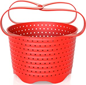 Avokado Silicone Steamer Basket for 8qt Instant Pot [3qt, 6qt avail], Ninja Foodi and Instant Pot Accessories - Strainer Insert with Silicone Handle - Perfect Pressure Cooker Accessory Protects Non-Stick IP Inserts - Rust and Dent Free - 8QT, Red