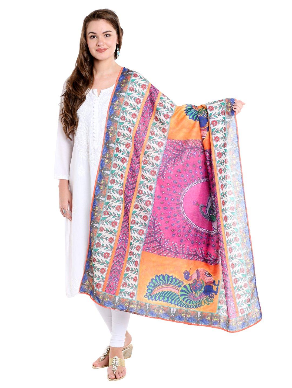 Dupatta Bazaar Woman's Multicoloured Digitally Printed Cotton Satin Dupatta