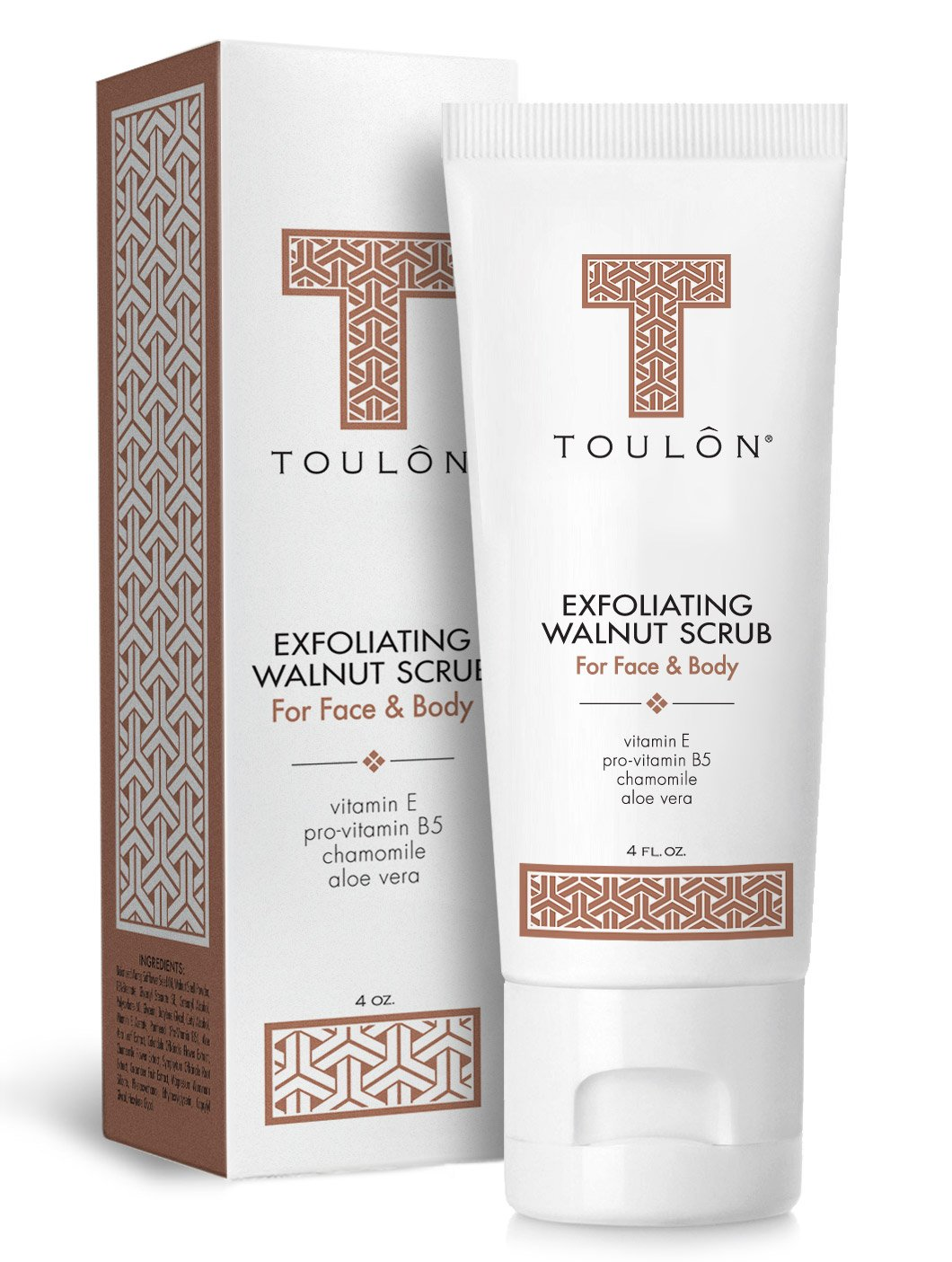 Exfoliating Face Scrub - Exfoliate Scrub - Face and Body; Walnut Facial Exfoliator. Great Exfoliant for Women or Men. Free Gift/No Risk by TOULON