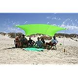 ZiggyShade Family Beach Sunshade – Lightweight Sun Shade Tent with Sandbag Anchors & 4 Free Pegs   UPF50+ UV Quality Lycra Fa