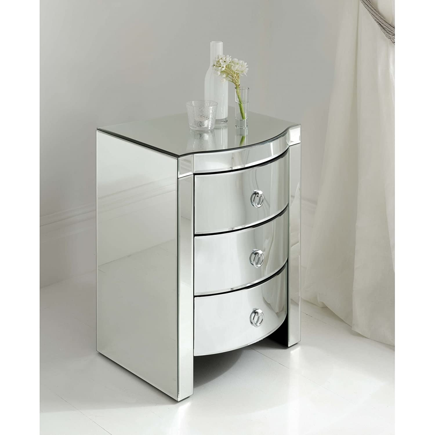 homesdirect365 Florence Mirrored Bedside 3 Drawer Amazon