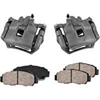 2 Quiet Low Dust Ceramic Brake Pads CCK02398 4 REAR Performance Black Powder Coated Calipers +