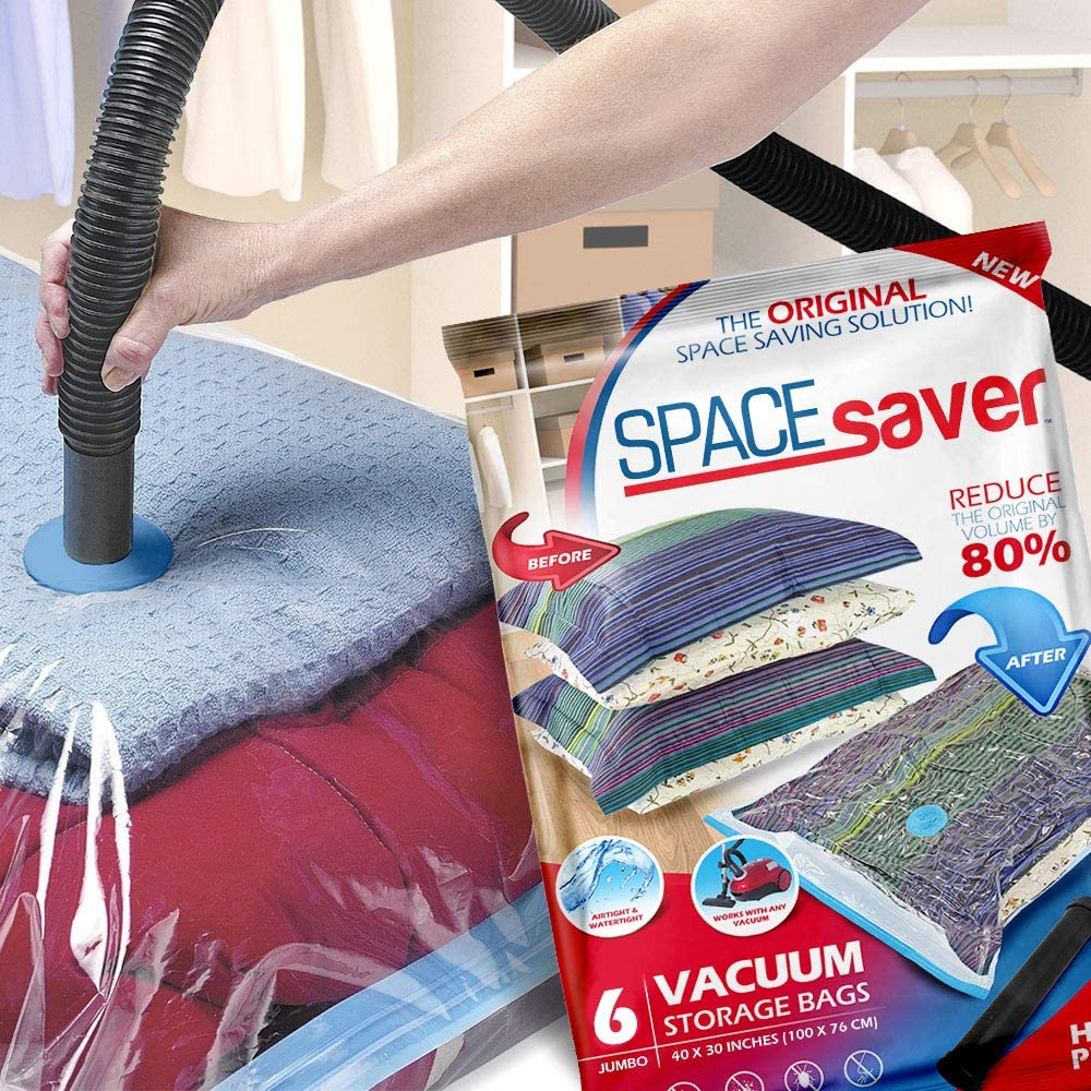 Spacesaver Premium Vacuum Storage Bags. 80% More Storage! Hand-Pump for Travel! Double-Zip Seal and Triple Seal Turbo-Valve for Max Space Saving! (Jumbo 6 Pack): Home & Kitchen