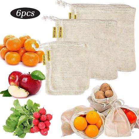 Juego de 6 Bolsas Reutilizables de Verduras Fruta Tela Algodón 3 ...