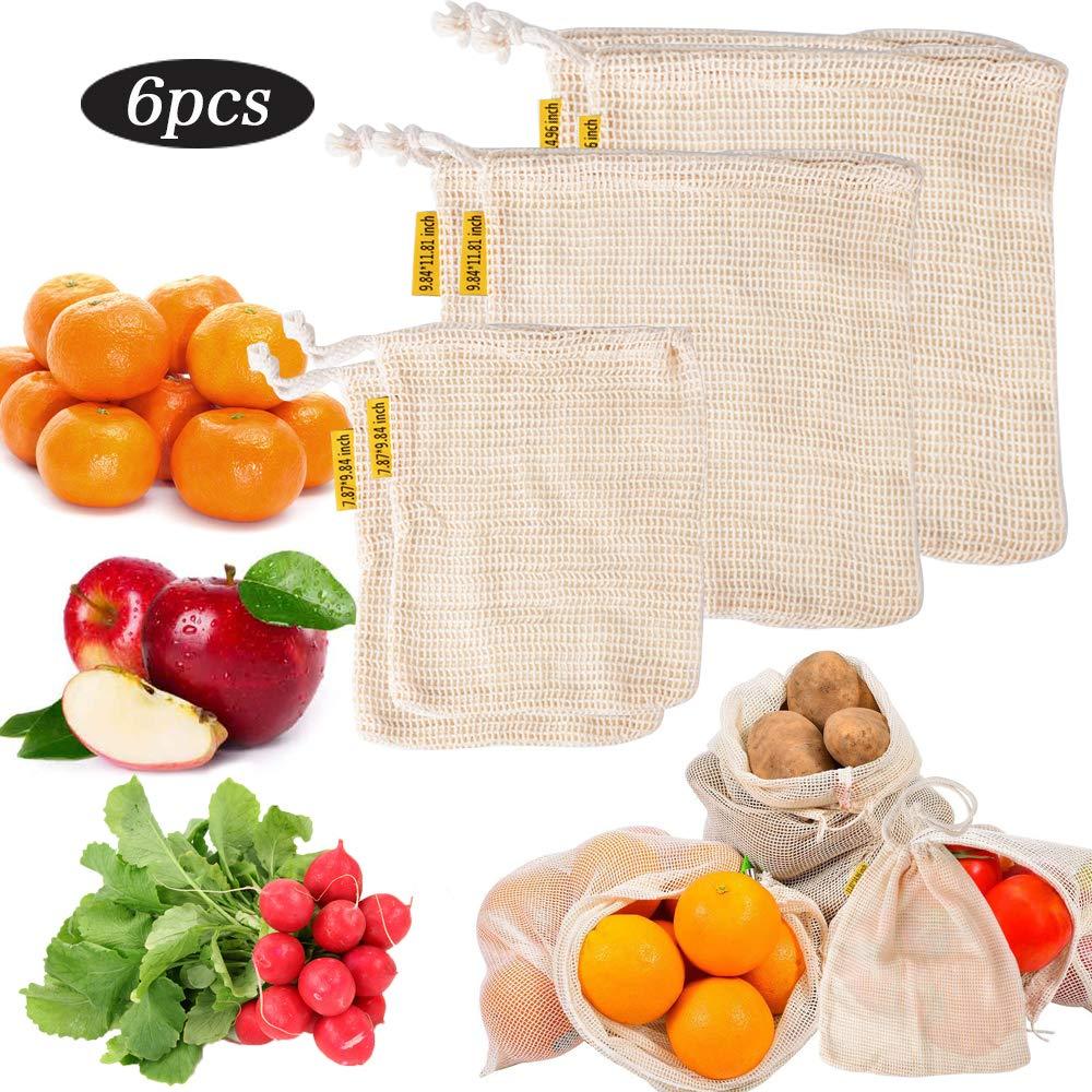 BUONDAC 6 STK / 3 Größen Gemüsebeutel wiederverwendbar Obstbeutel Baumwolle Einkaufsnetz Netztasche Einkaufstasche Netz Organizer für Einkaufen, Obst, Gemüse, Aufbewahrung Obstnetz Gemüsenetz Gemüse