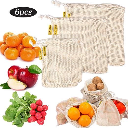 Juego de 6 Bolsas Reutilizables de Verduras Fruta Tela Algodón 3 Tamaños 2x S, 2x M, 2x L