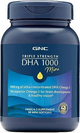 GNC Triple Strength DHA 1000 Mini, 90 Mini Softgels, for Join, Skin, Eye, and Heart Health