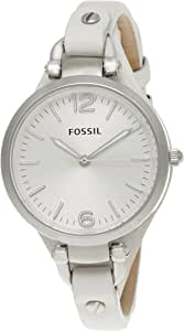 Fossil Women's White Dial Leather Band Georgia Watch [ES2829]