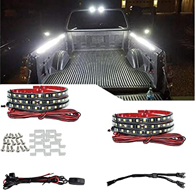 2Pcs 60 in White 180 LED Truck Bed Light Strip Kit Waterproof Lighting Lamp with On-Off Switch Fuse 2-Way Splitter Extension Cable for Cargo,Jeep Pickup, RV,SUV,RV, Boat: Car Electronics