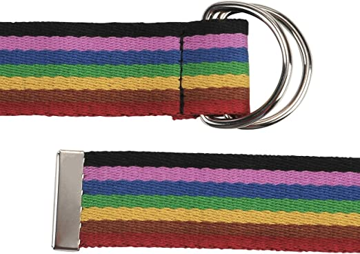 Faleto Mens 51 D-Ring Nylon Webbing Rainbow Belt Casual Stripes Waistband with Box