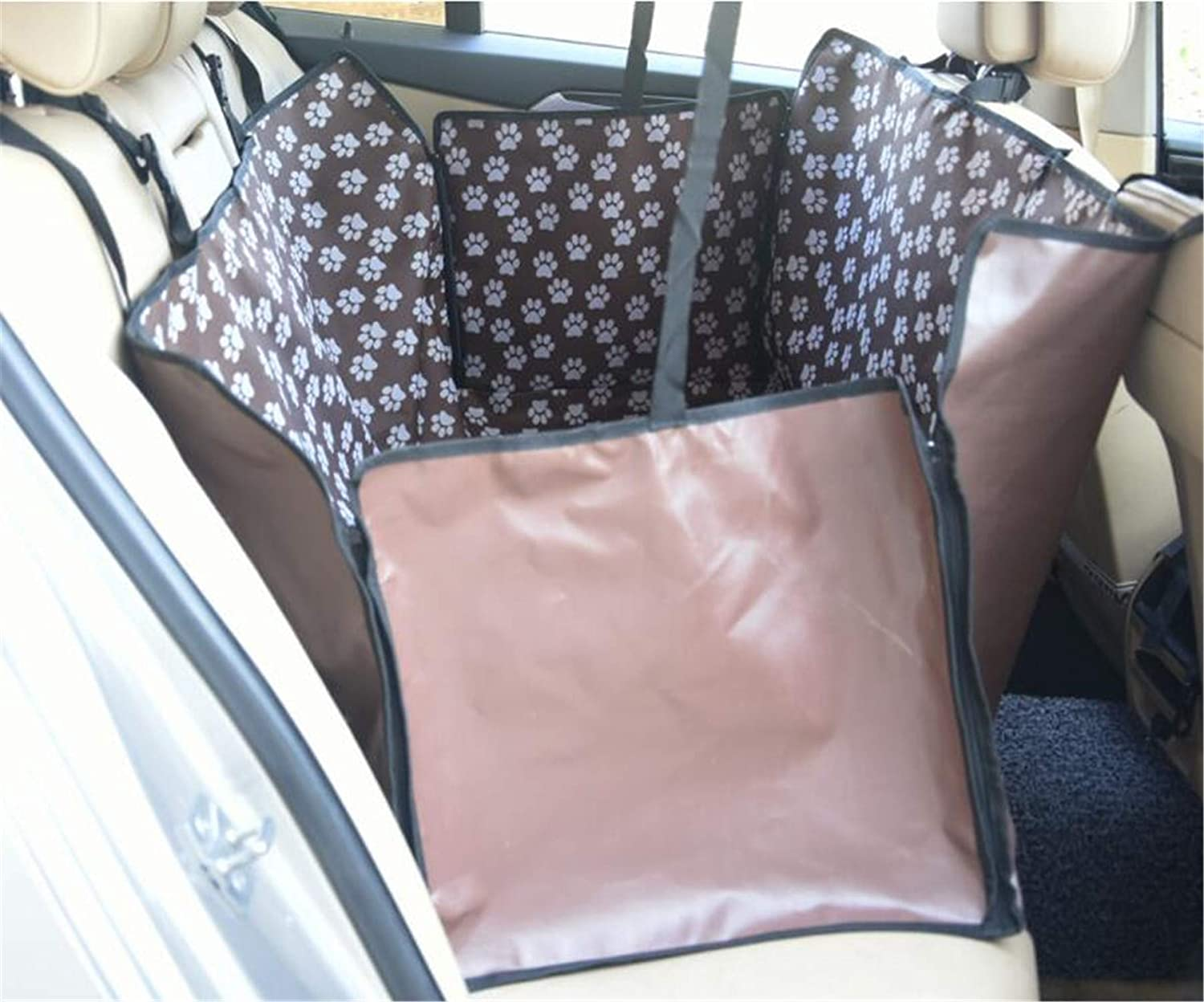 Brown Dog Seat Cover,Rear Seat Oxford Cloth Waterproof Zipper Medium and Large Dog Metal Hook Floral Print,Safe and Comfortable