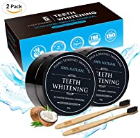 Natural Teeth Whitening Powder 2 Packs - Coconut Activated Charcoal - Effective Teeth Whitener + 2 Packs (2 PACK WITH BRUSH)