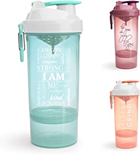 Smartshake Shaker Bottle with Motivational Quotes, Original2Go ONE 27 Ounce Protein Shaker Cup, Container Storage for Protein or Supplements, Perfect Gym Fitness Gift